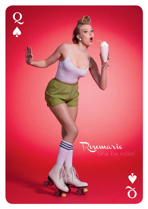 It's Rosemarie… She be rollin'. Queen of Spades. Check out our cheeky new campaign - a modern and playful take on the pin-up girls of the '50s!
