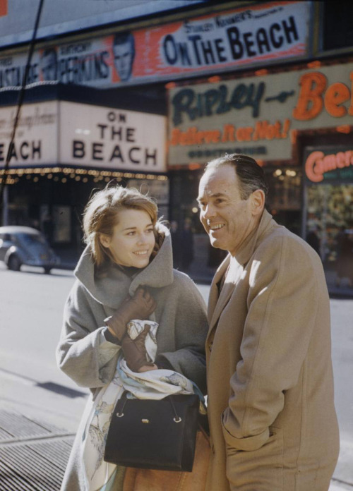 hedda-hopper:  NYC, 1959: Henry Fonda and his daughter, Jane Fonda