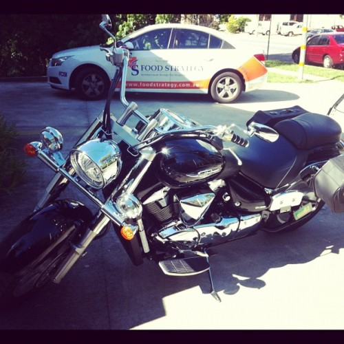 "A scary biker came to our office today at www.foodstrategy.com.au. Phew! It was just a world class ""baker-biker"" checking on his project. He looks good in leather! :-)   #baker #design #chef #cateringEquipment #foodservice #architect #biker #FoodPorn - maybe? (Taken with instagram)"