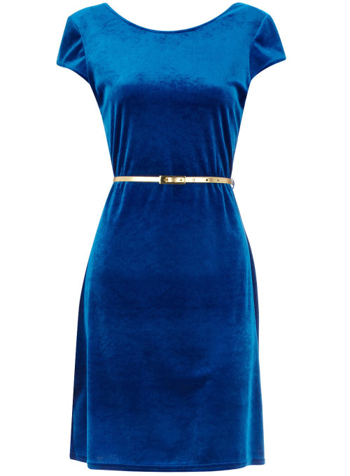 Cobalt Velvet Dress by Dorothy PerkinsCobalt short sleeved Velvet dress with scoop back and gold skinny waist belt. 0 polyester, 10 90 polyester, 10 elastane. Machine washable.