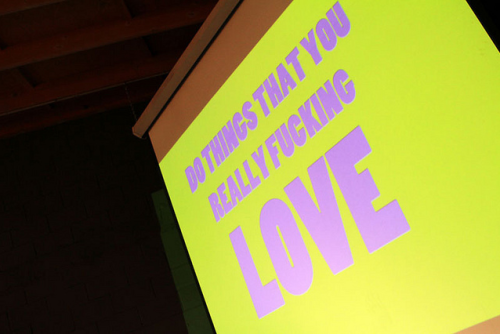 Simples assim.  creativemornings:  Some words of wisdom from Sonja Rasula of UNIQUE LA at the March 2012 CreativeMornings/LosAngeles. A big thanks to Jeremiah Garcia for photography at this event.