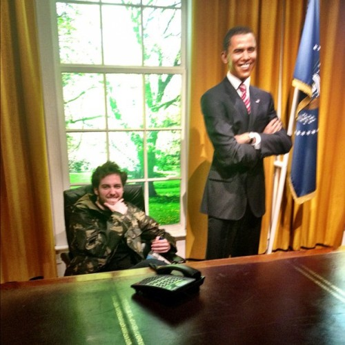 bricksatmywindow:  Obama and I talking Warped Tour (Taken with instagram)