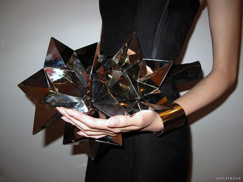 styletrove:  Prism metallic clutch. Amazing.