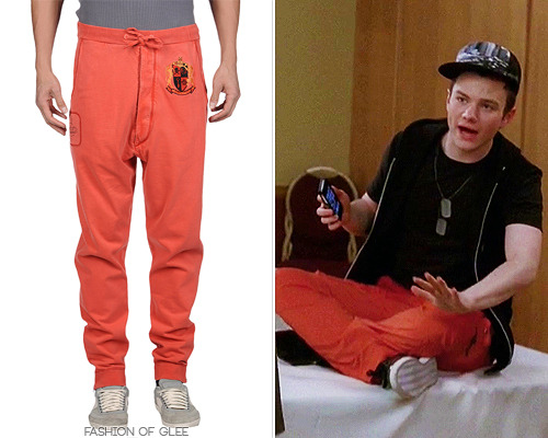 fashionofglee:  If Kurt will leave us with anything at his impending graduation, it's that every moment of your life is an opportunity for fashion. Not even his workout gear is spared with spicy sweatpants like these! Vivienne Westwood Sweat Pants - $235.00 Worn with: Nice Collective t-shirt