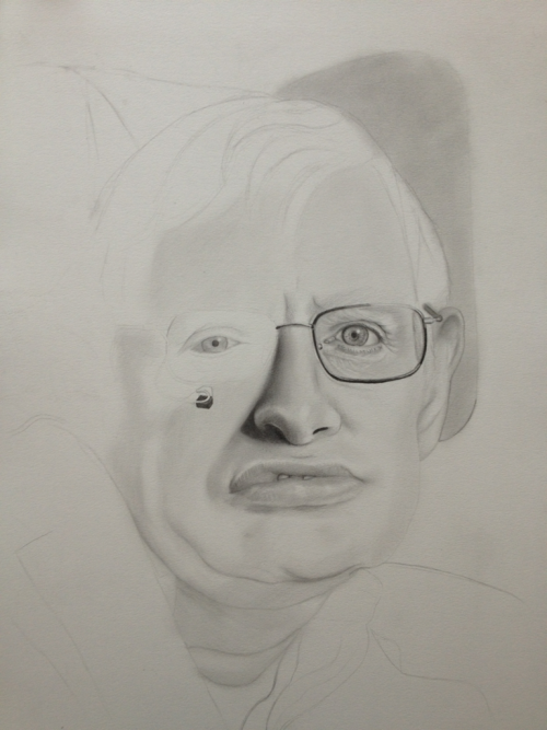 WIP Prof Stephen Hawkings Graphite on paper