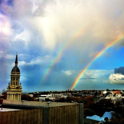 Double rainbow all the way #auckland #nz #igers #iphoneonly #sky #rainbow #clouds (Taken with Instagram at Thomas Building)
