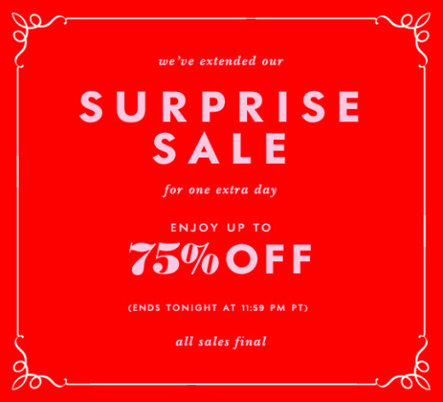 katespadeny:  we've extended our surprise sale for one extra day exclusively for friends in our online social circle: http://bit.ly/KQxp8F