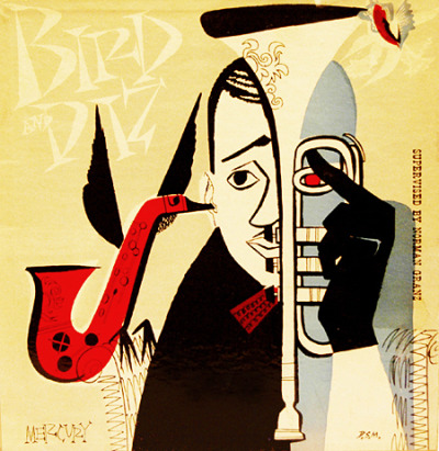 "newmanology:  Bird and Diz, 10"" LP cover (1952)Design and illustration: David Stone Martin Source: Taringa"