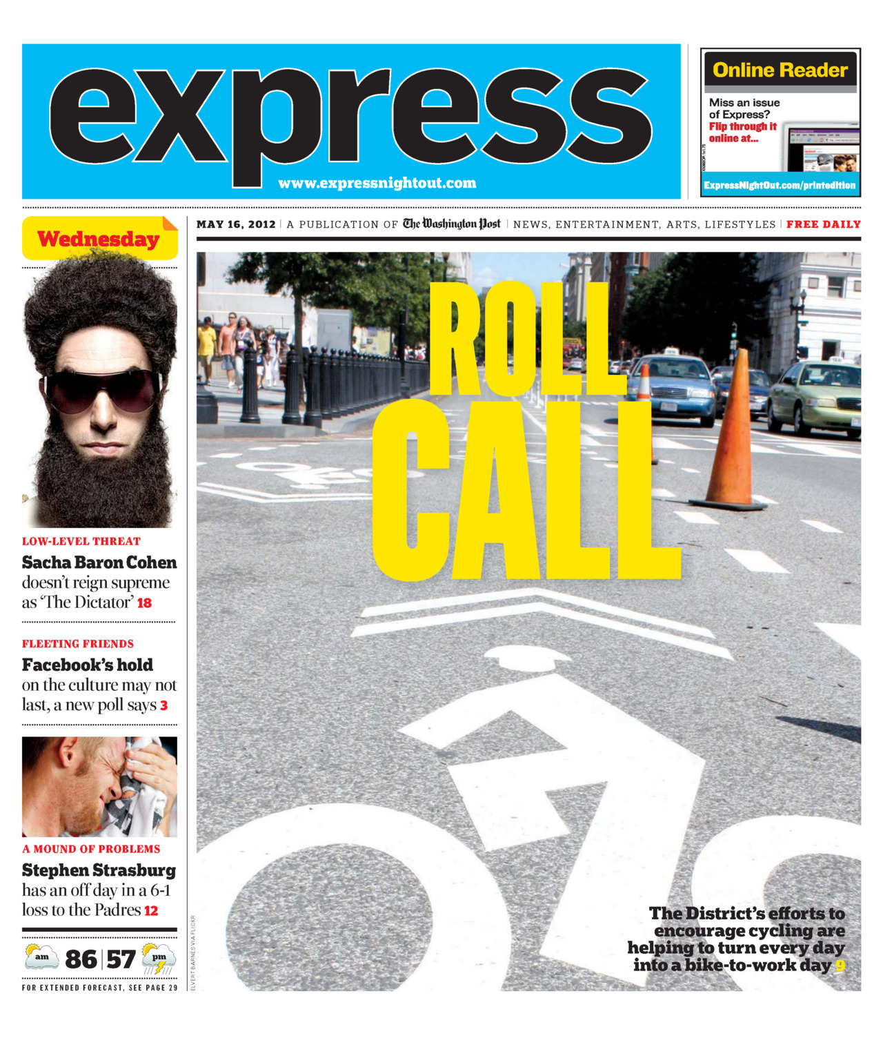 Express ran its first-ever staff-written (non-AP, non-Post) cover story yesterday. All rejoice! Vicky Hallett wrote about how D.C. is fast becoming a biking town.