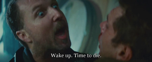 """Wake up. Time to die.""  Blade Runner (1982) directed by Ridley Scott, starring Harrison Ford, Rutger Hauer, Sean Young, Edward James Olmos, M. Emmet Walsh, Daryl Hannah, William Sanderson, Brion James, Joe Turkel, Joanna Cassidy, James Hong, Morgan Paull, Kevin Thompson. Based on Do Androids Dream of Electric Sheep? by Philip K. Dick."