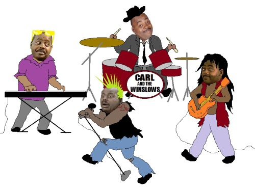 """Carl Winslow playing bass guitar or a entire rock band of Carl Winslows"""