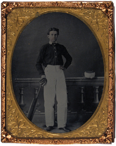 ca. 1860, [ambrotype portrait of a young cricketer with bat and glove], Wm. Bellham via Bloomsbury Auctions