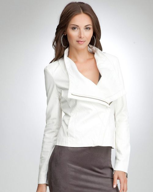 An investment in edgy sophistication this bebe leatherette jacket features dramatic collar, asymmetric zipper, and soft leatherette.