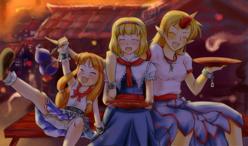 Alice hangin' out with Yuugi and Suika.  By nam (valckiry).