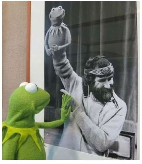 "James Maury ""Jim"" Henson (September 24, 1936 - May 16, 1990) Saddest photo of Kermit ever."