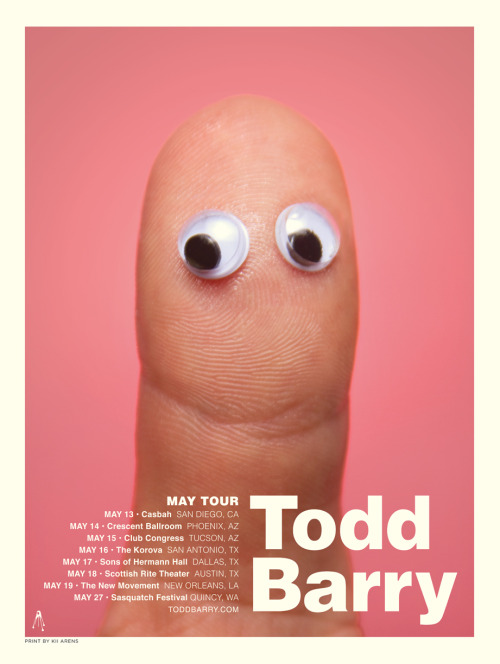 It's not the UK poster (I prefer this one), but Todd Barry is playing in Manchester on Sunday 10th June at The Deaf Institute. HOWL will be there (Not playing, just watching).