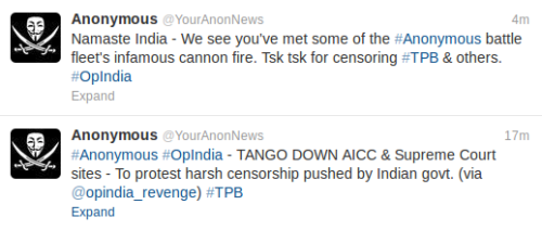 Anonymous brings down DOT,AICC,Supreme Court of India websites. All sites are back with-in 1 hour!.