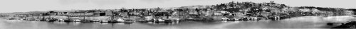 "This 120° panoramic image of the Cincinnati riverfront, properly titled Daguerreotype View of Cincinnati. Taken from Newport, Ky, was reassembled from a later series of 8 × 10 film negatives. The original panorama consisted of eight full-plate (6.5 × 8.5"") daguerreotypes and was taken in September 1848 by Porter and Fontayne (although most likely just by Porter). It shows a two mile stretch of the Cincinnati riverfront, from the Public Landing to the town of Fulton.  Make sure you embiggen this sucker to get the full scale. Much more about the Daguerreotype can be found on Codex 99 (including a map of the area in the panorama, details of the photos, and the full plates)."