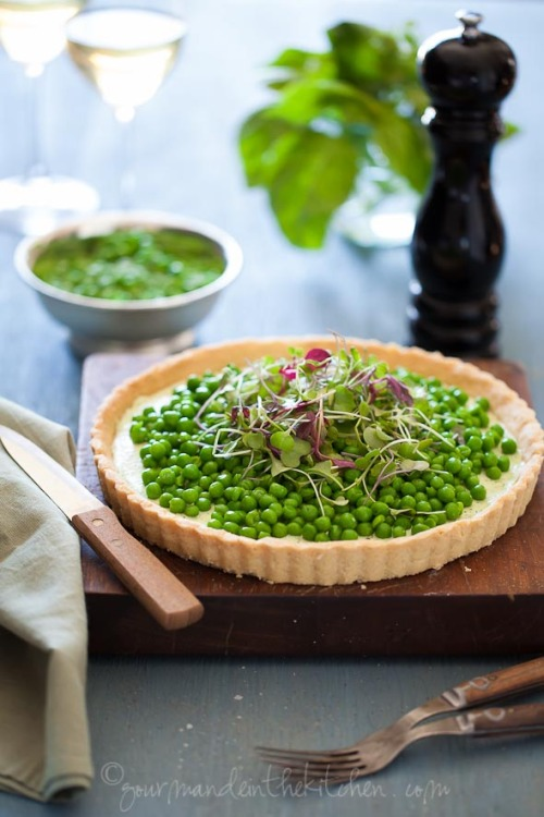 Pea and Herbed Goat Cheese Tart by Gourmande in the Kitchen (PS. it's gluten free!)
