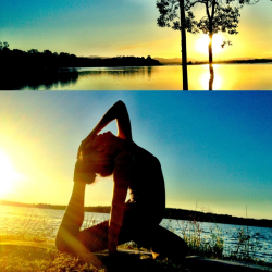 Yoga sesh by the lake; So happy with my progress!