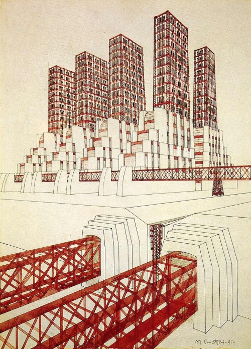 hadrianestou:  Mario Chiattone - Bridge and study of Volumes (1914)
