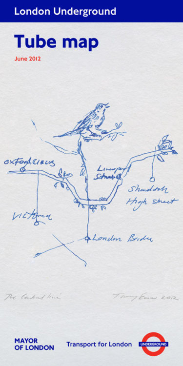 Tracey Emin's London tube map created for people visiting the captial during the Olympic summer, draws a natural connection.