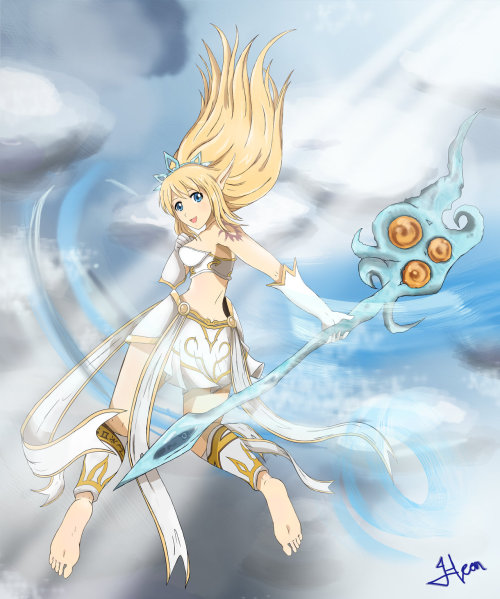 mystwalkermx7:  To the Storms and Heavens_Janna, by HeonGaiden at DeviantART. Wind, interesting sky, nice colors and a gracefully cheery Janna stylized in anime fashion. This pic grabs me in easily and swiftly. Kudos HeonGaiden. Keep up the great work!  This is some nice Janna art.