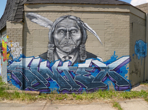 Sintex. Detroit 2012 on Flickr.Sintex. #detroit #graffiti #nativeamerican #typography