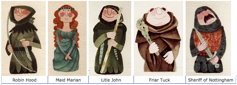 Some pretty cute Robin Hood designs by Kenneth Townsend.