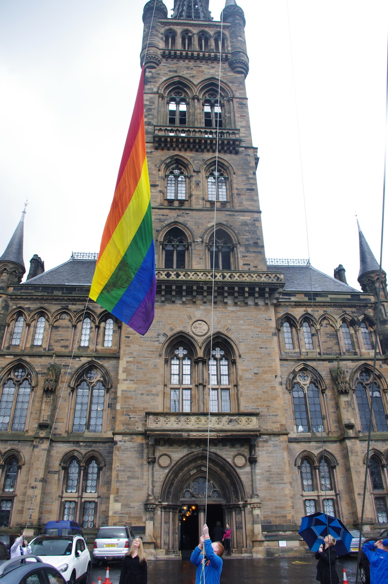 Snapped a few photos of the LGBT flag being raised on the South Front of Glasgow University this afternoon to mark International Day Against Homophobia and Transphobia (IDAHO). It's a great gesture by such a prominent institution, and the flag will be visible for miles from Glasgow University's vantage point on the hill.