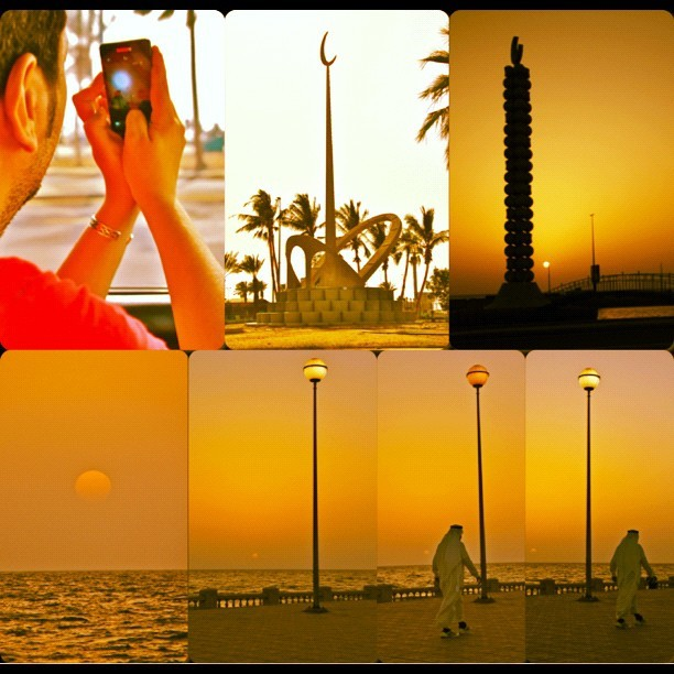 #Jeddah #SunSet #Walking , #moon #crescent phases & #Wizard #stick   (Taken with instagram)