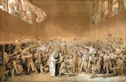 "Sketch by Jacques-Louis David of the Tennis Court Oath (1791), which marked the emancipation of the French bourgeoisie, or the Third Estate, from the Estates-General. Urban charters had grown out of collective efforts to sustain collective responsibility in the medieval town. Even though urban administrators were elected to their positions, medieval towns were not centers for democracy or equality. Quite the opposite, in fact. The medieval town was ruled by an urban oligarchy. A burgher was ""elected,"" or chosen, by his fellow burghers to serve at his administrative post. Prosperous merchants had the most to gain from charters, as it was they who controlled their towns' governments. Generation after generation they looked out for themselves and their economic interests.  Did the development of urban charters and laws contribute to the bourgeoisie's achieving class consciousness in the Middle Ages? I would argue that establishing the customs of the towns—which emphasized the rights, privileges, and liberties of the medieval bourgeoisie— was a crucial process that set the bourgeoisie apart from both their seigniorial lords and the rural peasantry.  Sheila Delany provides a succinct overview of the reasons for which the medieval bourgeoisie began to claim for themselves specific legal freedoms and privileges, which she rather brilliantly connects to the bourgeois revolutions that marked the end of a bloody 18th century:  From the start the medieval bourgeoisie were in competition with feudal lords. They competed first for labour-power, for they required a pool of free workers and artisans to produce what they would sell. Free, that is, from feudal ties, free to move where they were needed, free to work when they were needed, and free from property. To this end most town charters guaranteed freedom to any serf who lived peacefully in the town for a year and a day…But the bourgeois himself, whether merchant, employer or financier, also required freedom from domination by lay and ecclesiastical lords. He wanted freedom to trade unimpeded and travel safely, freedom to hire and release employees, to raise or lower prices, wages or interest, to accumulate a fortune, marry a noblewoman or purchase an estate. The political privileges granted to the urban bourgeoisie were known as 'liberties.' Indeed the notion of 'liberty' was the distinctive contribution to European thought of the bourgeoisie breaking free of feudal bonds; it culminated in the slogans of French and American bourgeois revolutionaries of the 18th century.  I emphasize the last point of this passage to highlight the continuing relevance of the medieval bourgeoisie to our modern political discourse. Our modern conceptions of liberty and freedoms were derived, at least partly, from definitions that the medieval bourgeoisie had begun to codify in urban charters so that they could adequately protect and defend their economic interests."