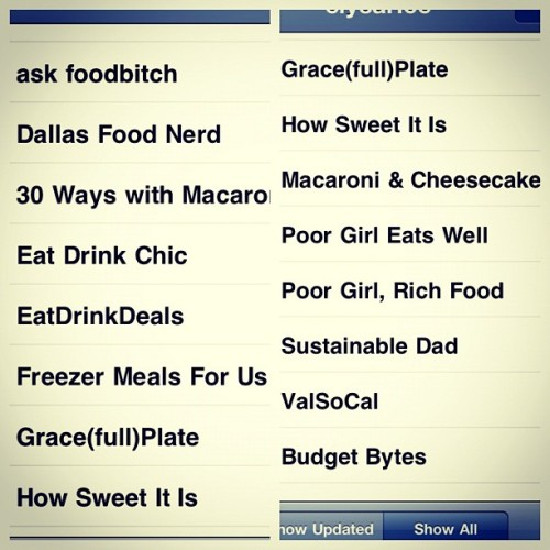 my food blog folder in reader. any I should add? (Taken with instagram)