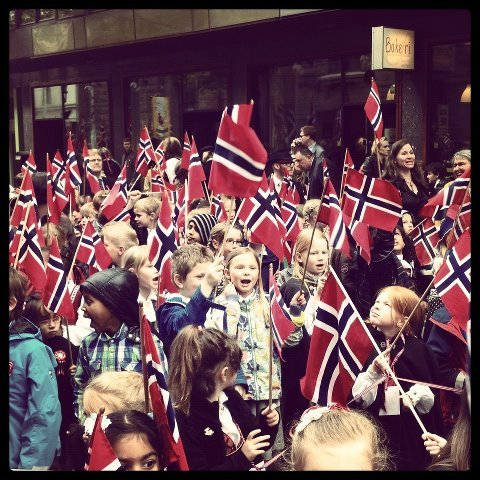 pardonmynorwegian:  As usual, the barnetoget (children's parade) for syttende mai!Photo by Life in Norway.  It's that time of year again. Happy birthday, Norway.