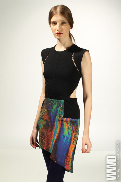 "Designers to Watch DANIELLA KALLMEYER Designer: Daniella Kallmeyer, 25; based in New York. Brand philosophy: ""I love the idea of the unexpected — an old woman dressed to the nines walking down the street, a street-style kid from the Bronx who looks like he takes better care of his shoes than I do. That's the kind of thing that makes my wheels turn."" [above: Daniella Kallmeyer's polyester, rayon and silk dress.]"