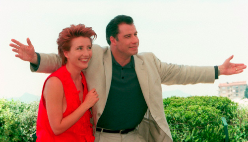 Cannes regulars John Travolta and Emma Thompson at the premiere of Primary Colors at the 1998 Cannes Film Festival.