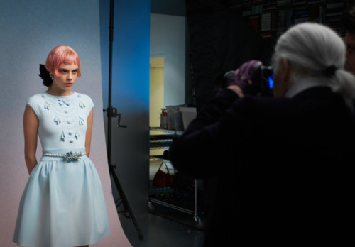 Cara Delevingne and Karl Lagerfeld at making of the press kit of Chanel cruise 2013
