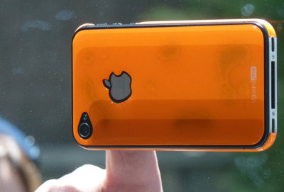 Ditch those enormous iPhone cases for Uguard.me's case that sticks to surfaces like your bathroom mirror or car window!