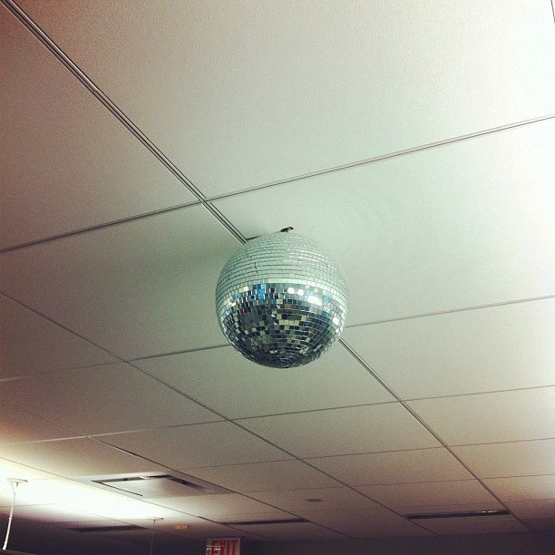 soupsoup:  The @reuters newsroom disco ball spins at half mast in honor of Donna Summer (Taken with instagram)