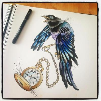 Magpie pocket watch by ~DarkisLove