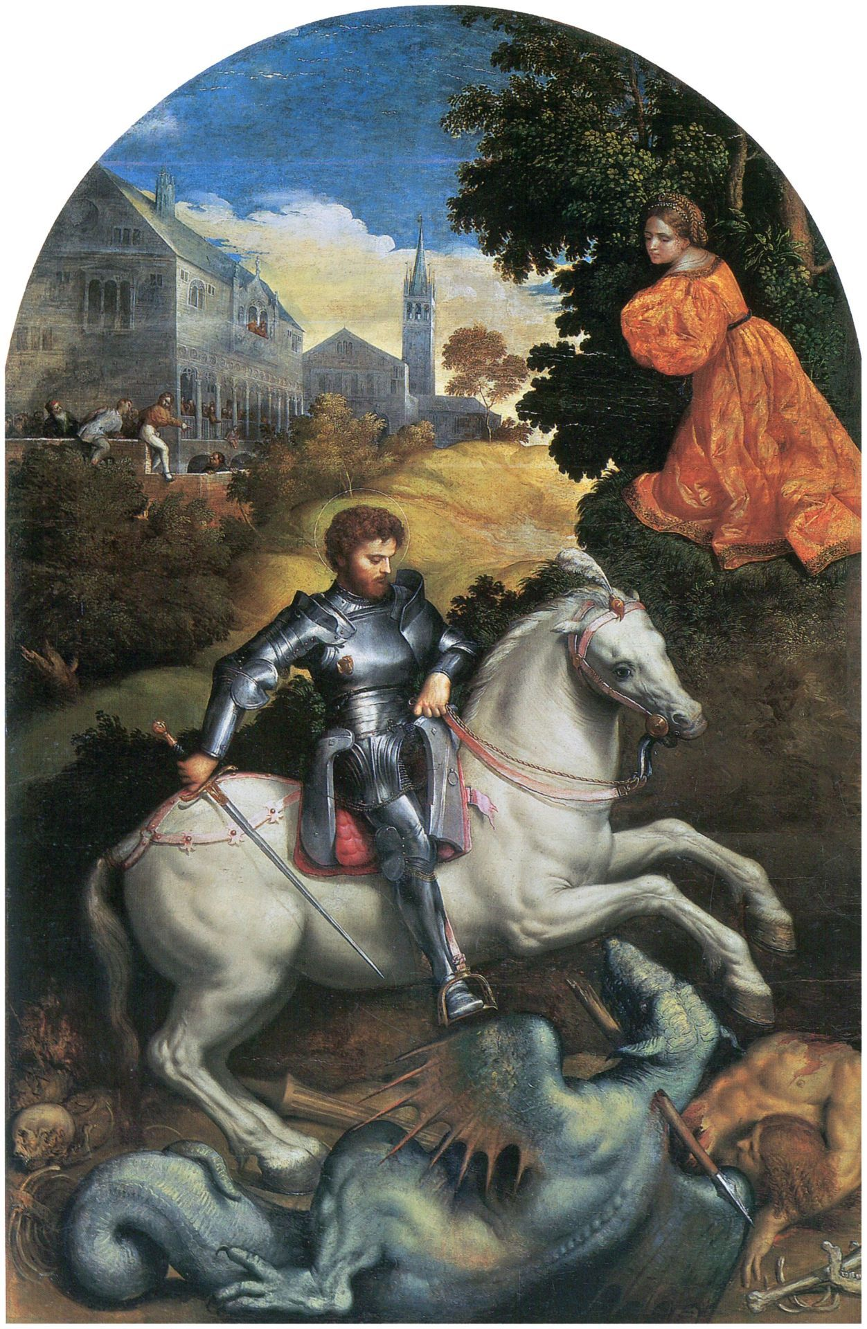 Paris Bordone (1495-1570) : Saint Georges tuant le Dragon (Source : Pinacoteca - Italy).
