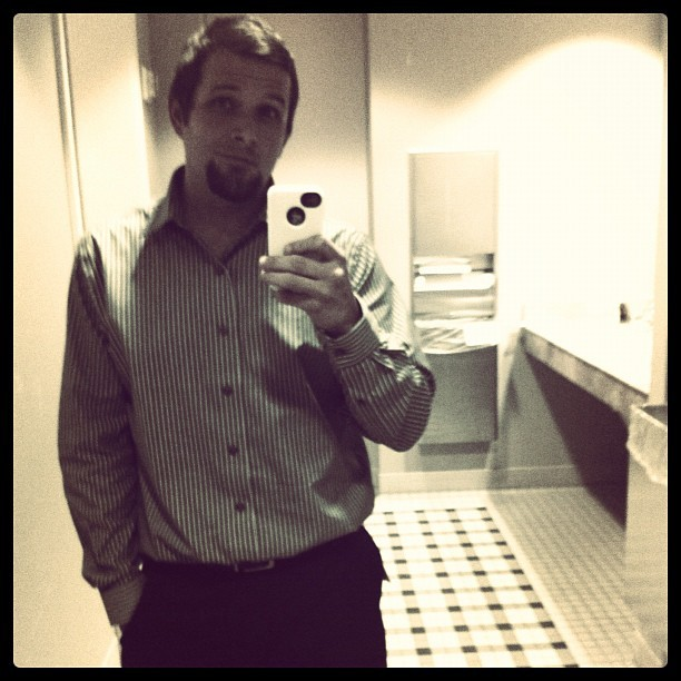 Hiding in the #bathroom #suit #business #work #picoftheday #goingcommandoatworklol (Taken with Instagram at Unbounded Solutions)