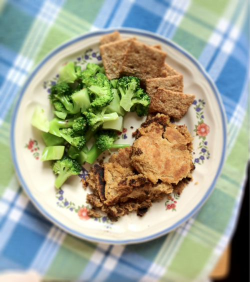 lunch today! vegan smashed chickpea fritters with broccoli and a few multigrain crackers :)