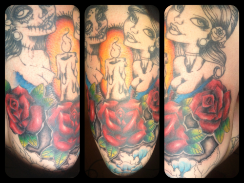 I did 2 more hours on  my thigh today. Shaping up nicely, but it hurt like shit.