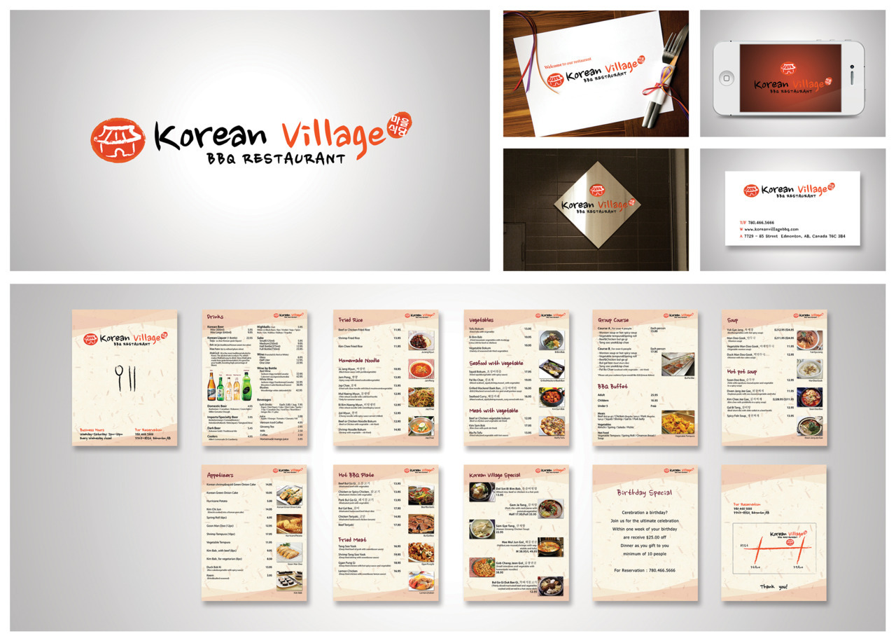 Korean Village Restaurant Logo, identity package, and website