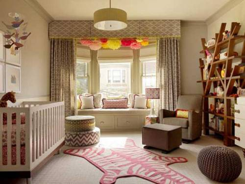 cozy window seat in the nursery