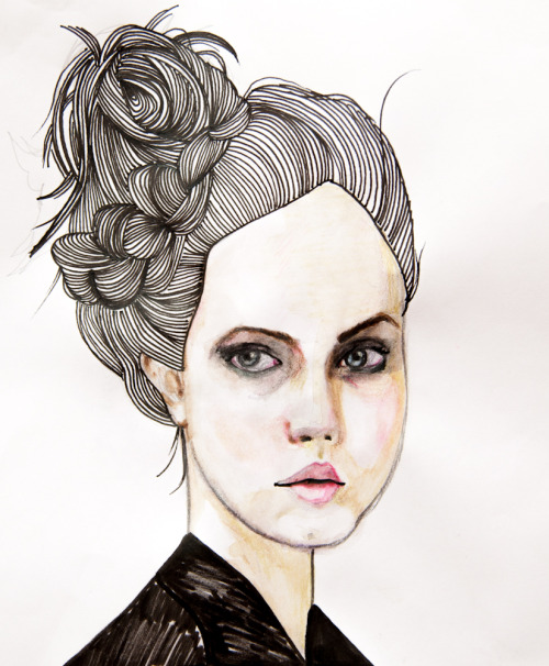 Watercolor pencils & marker. Reference : http://www.zimbio.com/pictures/Zgh-kNLBPnh/Norma+Kamali+Presentation+Spring+2010+MBFW/LPwP67hu7Bk/Lindsey+Wixson How frustrated am I for not being able to draw faces more accurately. I need some more practise and  learn how to shut down my left brain while drawing.