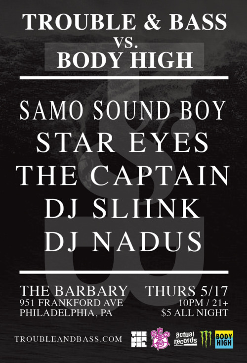 T&B vs. BODY HIGH Tonight in Philly at The Barbary! https://www.facebook.com/events/122180347913618/