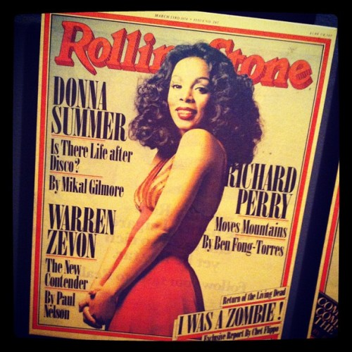 rollingstone:  RIP #DonnaSummer. The legendary disco queen appeared on the cover of #RollingStone on March 23, 1978. Head to Rollingstone.com to read the cover story. (Taken with instagram)