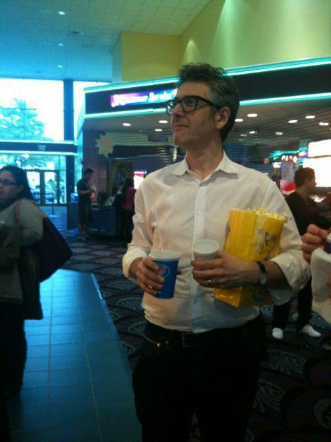 Ira Glass stocking up before watching a Tuesday night encore screening of the This American Life live show (which will air as a radio episode this weekend). (@sethlind of @ThisAmerLife is babysitting this Tumblr for Melody)